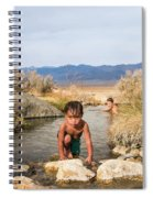 Child And Mother Playing In Hot Springs Spiral Notebook