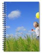 Child Running With A Balloon Spiral Notebook