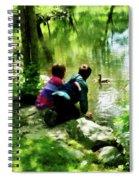 Children And Ducks In Park Spiral Notebook