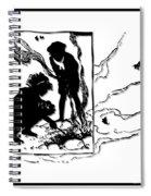 Children Burning Leaves Silhouette Spiral Notebook