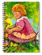 Children's Art - Little Girl With Puppy - Paintings For Children Spiral Notebook