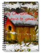 Chilly Birdhouse Holiday Card Spiral Notebook
