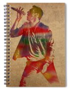 Chris Martin Coldplay Watercolor Portrait On Worn Distressed Canvas Spiral Notebook