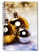 Christmas Balls Gold Silver Spiral Notebook
