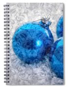 Christmas Card With Vintage Blue Ornaments Spiral Notebook