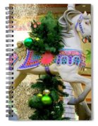 Christmas Carousel Horse With Pine Branch Spiral Notebook