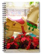 Christmas Carousel Horse With Poinsettias Spiral Notebook