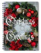Christmas Greetings Door Wreath Spiral Notebook