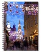 Christmas Illumination On Piwna Street In Warsaw Spiral Notebook