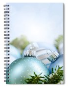 Christmas Ornaments On Blue Spiral Notebook