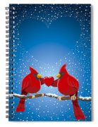 Christmas Red Cardinal Twig Snowing Heart Spiral Notebook