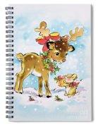 Christmas Reindeer And Rabbit Spiral Notebook