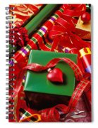 Christmas Wrap With Heart Ornament Spiral Notebook