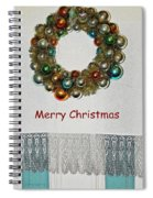 Christmas Wreath And Vintage Bulbs Spiral Notebook