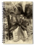 Christmasgift Under The Tree In Sepia Spiral Notebook
