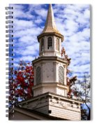 Church Steeple In Autumn Blue Sky Clouds Fine Art Prints As Gift For The Holidays Spiral Notebook