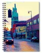 Church Street In Winter Melting Snow Sunset Reflections Montreal Urban City Landscape Scene Cspandau Spiral Notebook