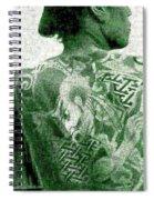 Circa 1900 Samurai Tattoo In Green Spiral Notebook