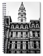 City Hall Philadelphia - Black And White Spiral Notebook