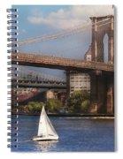 City - Ny - Sailing Under The Brooklyn Bridge Spiral Notebook