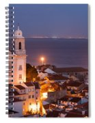 City Of Lisbon In Portugal At Night Spiral Notebook
