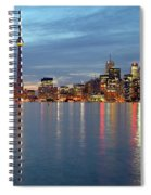 City Skyline At Dusk From Centre Spiral Notebook