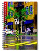 City Street Relections In The Rain Quebec Art Colors And Seasons Montreal Scenes Carole Spandau Spiral Notebook
