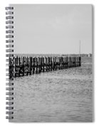 Classic Black And White Pier Scene Spiral Notebook