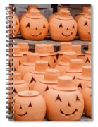 Clay Pumpkins Standing Happy Near The Wood Fence Spiral Notebook