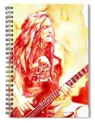 Cliff Burton Playing Bass Guitar Portrait.1 Spiral Notebook