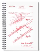 Climber For Skis 1939 Russell Patent Art Red On White Spiral Notebook