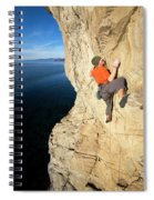 Climber Reaches For Hand Hold Spiral Notebook