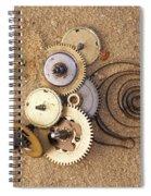 Clockwork Mechanism On The Sand Spiral Notebook