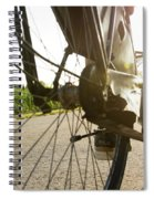 Close Up Of Wheel Of Bicycle On Road Spiral Notebook