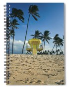 Closed Lifeguard Shack On A Deserted Tropical Beach With Palm Tr Spiral Notebook