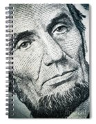 Closeup Of A Five Dollar Bill Spiral Notebook