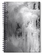 Closeup Of Icy Waterfall - Black And White Spiral Notebook