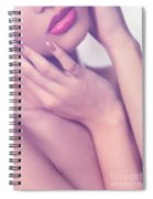Closeup Of Sensual Woman Mouth And Pink Lips Spiral Notebook