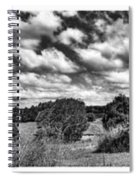 Cloudy Countryside Collage - Black And White Spiral Notebook
