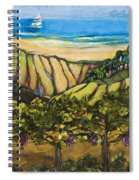 California Coastal Vineyards And Sail Boat Spiral Notebook