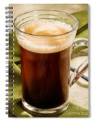 Coffe In Tall Glass On Green Spiral Notebook