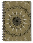 Coffee Flowers 3 Olive Ornate Medallion Spiral Notebook