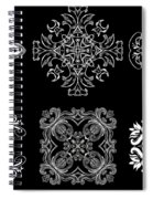 Coffee Flowers Ornate Medallions Bw 6 Peice Collage Spiral Notebook