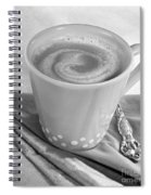 Coffee In Tall Yellow Cup Black And White Spiral Notebook