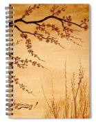 Coffee Painting Cherry Blossoms Spiral Notebook