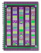 Coin Quilt - Quilt Painting - Purple And Green Patches Spiral Notebook