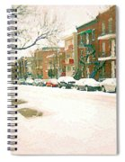 Cold Day In Montreal Pointe St Charles Art Winter Cityscene Painting After Big Snowfall Psc Cspandau Spiral Notebook