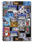 Collage Xmas Cards Vertical Photo Art Spiral Notebook