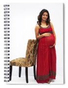 Color Portrait Young Pregnant Spanish Woman Leaning On Chair Spiral Notebook
