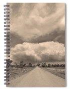 Colorado Country Road Sepia Stormin Skies Spiral Notebook